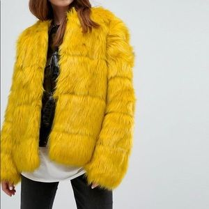 (NWT) Bershka Yellow Faux Fur Coat